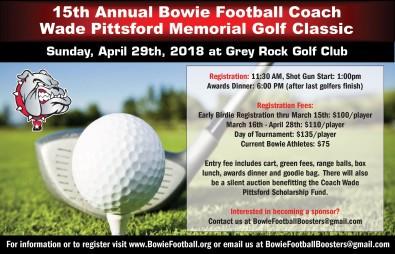 15th Annual Bowie Football Coach Wade Pittsford Memorial Golf Classic